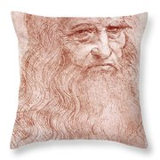 Portrait of a Bearded Man Throw Pillow by Leonardo da Vinci