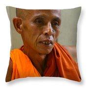 Portrait Of A Buddhist Monk Yangon Myanmar Throw Pillow by Ralph A  Ledergerber-Photography