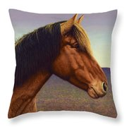 Portrait Of A Horse Throw Pillow by James W Johnson