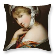 Portrait Of A Lady In Eastern Dress Throw Pillow by English School
