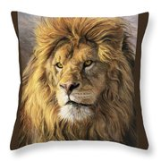 Portrait Of A Lion Throw Pillow by Lucie Bilodeau