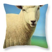 Portrait Of A Sheep Throw Pillow by James W Johnson