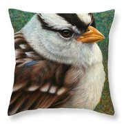 Portrait Of A Sparrow Throw Pillow by James W Johnson