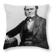 Portrait Of Charles Darwin Throw Pillow by English Photographer