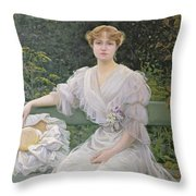 Portrait Of Marguerite Durand Throw Pillow by Jules Cayron