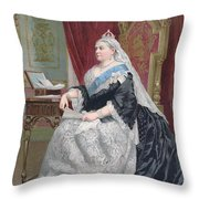 Portrait Of Queen Victoria Throw Pillow by English School