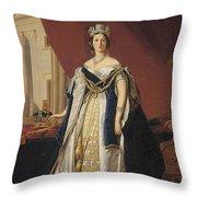 Portrait Of Queen Victoria In Coronation Robes Throw Pillow by Franz Xaver Winterhalter