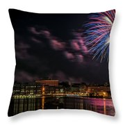 Portsmouth Nh Fireworks 2013 Throw Pillow by Scott Thorp