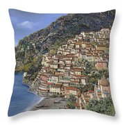 Positano E La Torre Clavel Throw Pillow by Guido Borelli