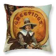 Postcard Of Pilgrim Plucking A Turkey Throw Pillow by American School