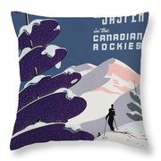 Poster Advertising The Canadian Ski Resort Jasper Throw Pillow by Canadian School