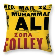 Poster Advertising The Fight Between Muhammad Ali And Zora Folley In Madison Square Garden Throw Pillow by American School