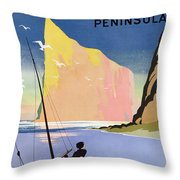 Poster Advertising The Gaspe Peninsula Quebec Canada Throw Pillow by Canadian School