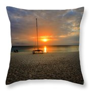 powder-white sand of Seven Mile Beach Throw Pillow by Dan Friend