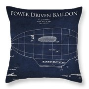 Power Driven Balloon Patent Throw Pillow by Aged Pixel