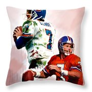 Power Force John Elway Throw Pillow by Iconic Images Art Gallery David Pucciarelli