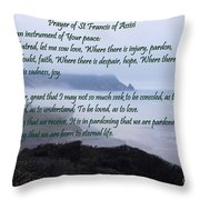 Prayer Of St Francis Of Assisi Throw Pillow by Sharon Elliott