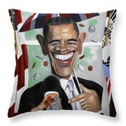 President Barock Obama Change Throw Pillow by Anthony Falbo