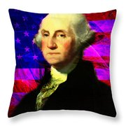 President George Washington V2 M123 Throw Pillow by Wingsdomain Art and Photography