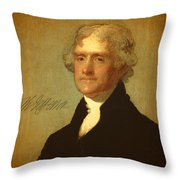 President Thomas Jefferson Portrait And Signature Throw Pillow by Design Turnpike