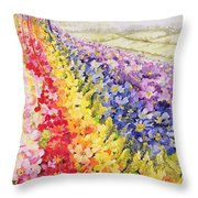 Primrose Rainbow Throw Pillow by Joan Thewsey