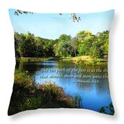 Proverb 4-18 Path Of The Just Throw Pillow by Susan Savad