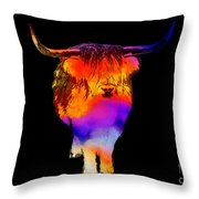 Psychedelic Bovine Throw Pillow by Pixel Chimp