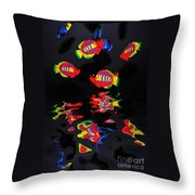 Psychedelic Flying Fish With Psychedelic Reflections Throw Pillow by Kaye Menner