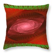 Psychedelic Spiral Vortex Green And Red Fractal Flame Throw Pillow by Keith Webber Jr