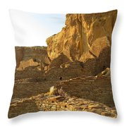 Pueblo Bonito and cliff Throw Pillow by Feva  Fotos