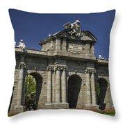 Puerta De Alcala Madrid Spain Throw Pillow by Susan Candelario