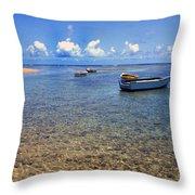Puerto Rico Luquillo Beach Fishing Boats Throw Pillow by Thomas R Fletcher