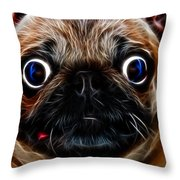 Pug Dog - Electric Throw Pillow by Wingsdomain Art and Photography