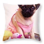 Pug Puppy Bath Time Throw Pillow by Edward Fielding