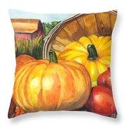 Pumpkin Pickin Throw Pillow by Carol Wisniewski