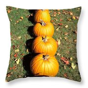Pumpkins In A Row Throw Pillow by Anonymous