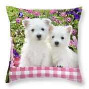 Puppies In A Pink Basket Throw Pillow by Greg Cuddiford