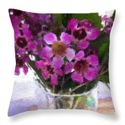 Purple Flowers Throw Pillow by Linda Woods