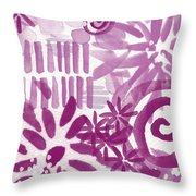 Purple Garden - Contemporary Abstract Watercolor Painting Throw Pillow by Linda Woods