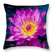 Purple Lily On The Water Throw Pillow by Nick Zelinsky