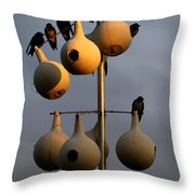 Purple Martin Twilight Throw Pillow by Karen Wiles