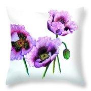 Purple Oriental Poppies Throw Pillow by Karin  Dawn Kelshall- Best