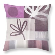 Purple Patchwork- Contemporary Art Throw Pillow by Linda Woods