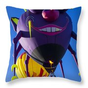Purple People Eater And Friend Throw Pillow by Garry Gay