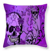 Purple Skulls Throw Pillow by M and L Creations