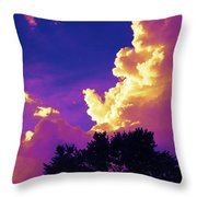 Purple Thunder Throw Pillow by Deborah Fay