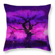 Purple tree of life Throw Pillow by Pixel Chimp