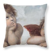 Putti Detail From The Sistine Madonna Throw Pillow by Raphael