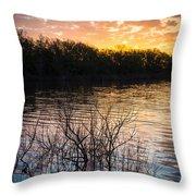 Quanah Parker Lake Sunrise Throw Pillow by Inge Johnsson