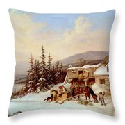 Quebec Throw Pillow by Cornelius Krieghoff